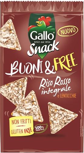 Snack Gallo triangolini Riso rosso/ lenticchie gr 80